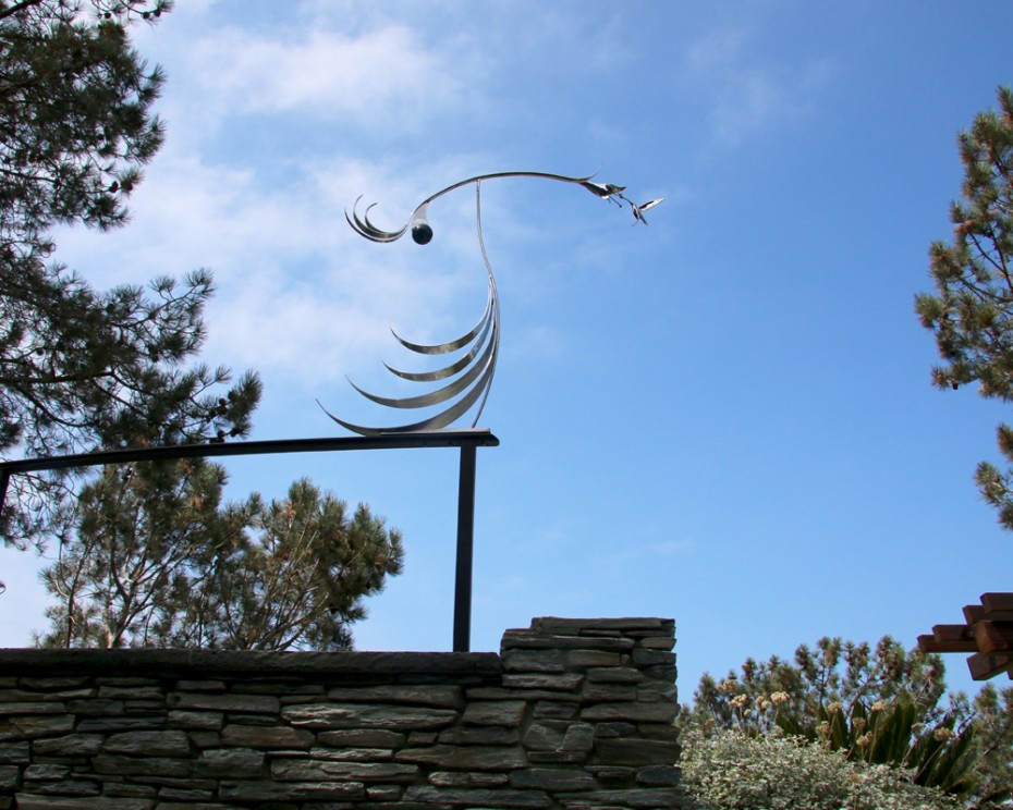 The Kiss (II) Hummingbird Stainless Steel Kinetic Sculpture by Amos Robinson