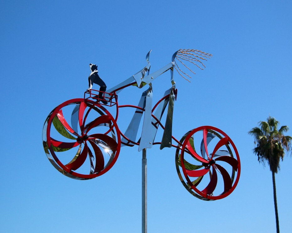 Adventures (with Truman) Stainless Steel Kinetic Bicycle Sculpture by Amos Robinson